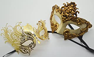 Roman Greek God and Goddess Set - His & Hers Luxury Phantom Masquerade Masks [Antique Gold Themed] - New Year's Eve, Mardi Gras Theater