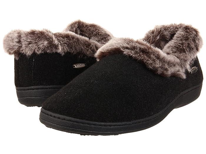 Acorn  Faux Chinchilla Collar (Black) Womens Slippers