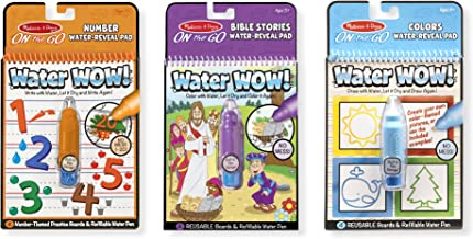 Melissa & Doug On the Go Water Wow! Activity Pad 3-Pack, Colors & Shapes, Numbers, Bible Stories (Reusable Water-Reveal Coloring Books, Great for Girls & Boys - Best for 3, 4, 5, 6, and 7 Year Olds)