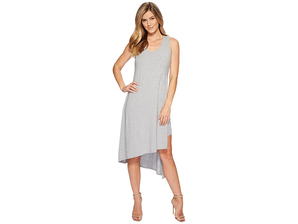 Mod-o-doc Cotton Modal Spandex Jersey Double Layer High Side Slit Tank Dress (Smoke Heather) Women