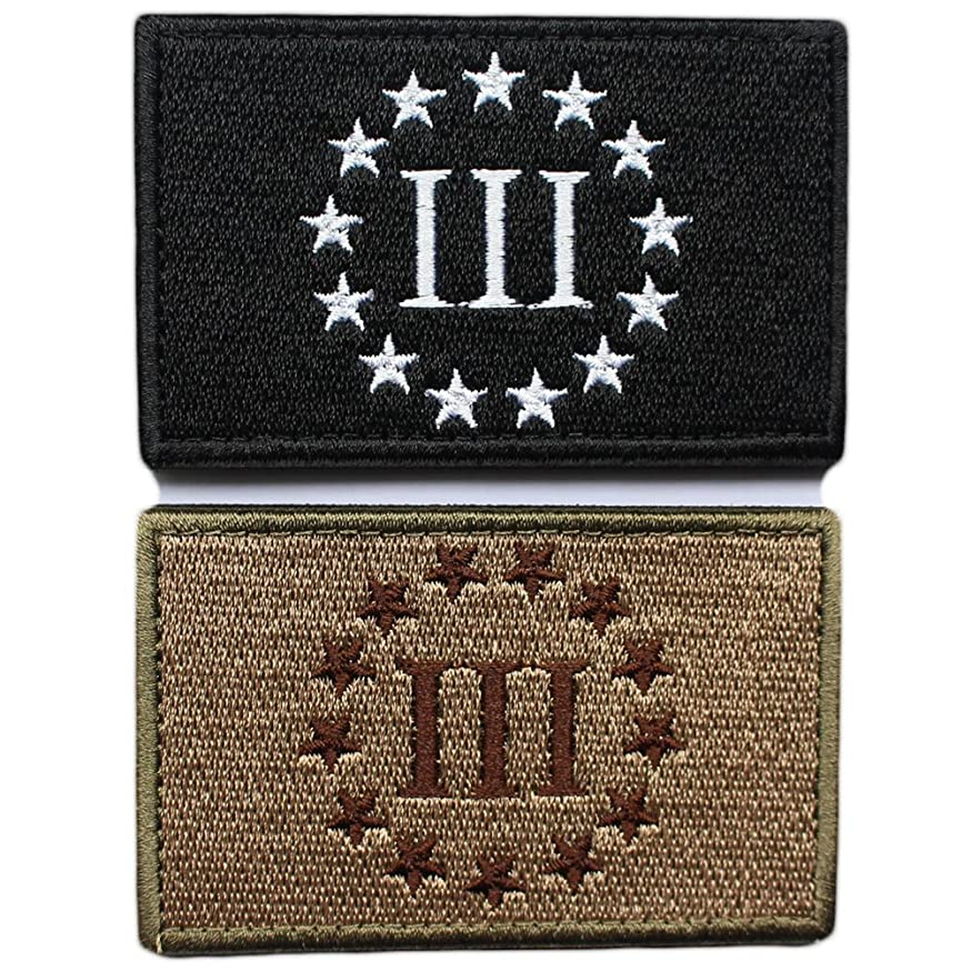 Bundle 2 Pieces - Three Percenter Tactical Morale Patch with Backing Multitan Black White Decorative Embroidered Appliques 2