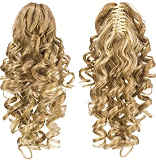SWACC 12-Inch Short Screw Curls Claw Clip Ponytail Extensions Synthetic Clip in Drawstring Curly Ponytail Hairpiece Jaw Clip Hair Extension (Beige/Blonde Mixed-24H613#)