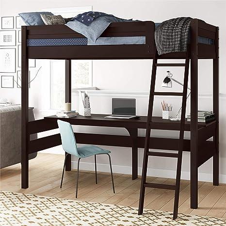 Amazon Com Dorel Living Harlan Wood Loft Bed With Ladder And Guard Rail Twin Espresso Furniture Decor