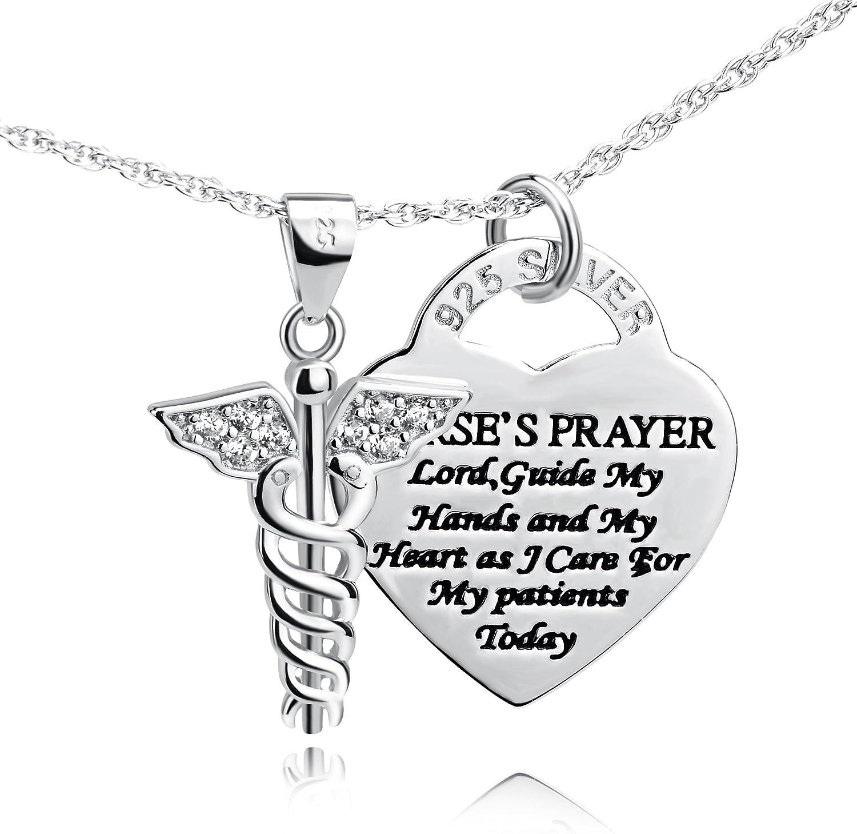 YFN 925 Sterling Silver Caduceus Angel Nursing Themed Pendant Ne