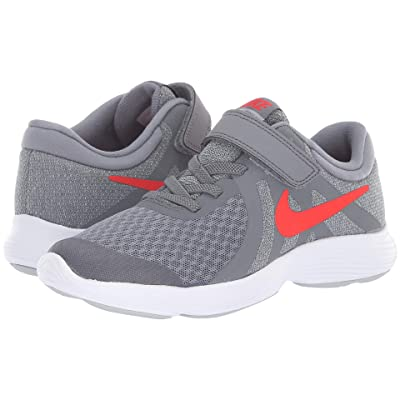 Nike Kids Revolution 4 (Little Kid) (Cool Grey/Habanero Red/Wolf Grey/White) Boys Shoes