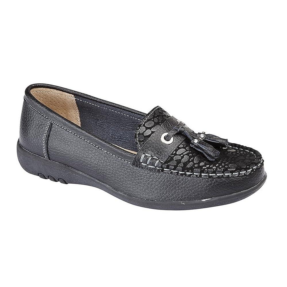 不実メタルラインカスケード[Boulevard] ブールバール レディース ワイドフィット レプタイルプリント タッセルシューズ 婦人靴 フラットシューズ 女性用
