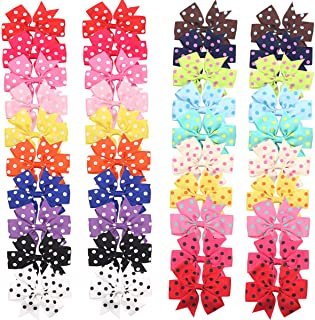 40 Pieces Baby Girls Ribbon Polka Dot Hair Bow Alligator Hair Clips for Girl Teens Kids Babies Toddlers in Pairs
