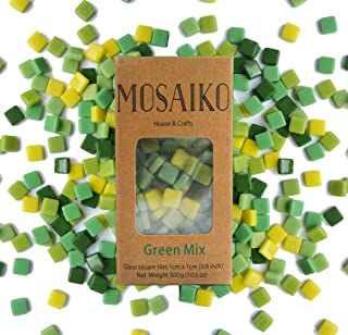 MOSAIKO Green Mix 300g (10.5oz) - Mosaic Glass Tiles for Crafts - Premium Quality Stained Square Pieces 1cm x 1cm (3/8 inch) - Perfect for Home Decor, DIY Crafts, Pixel Art, Kid Play, Adult Hobbies