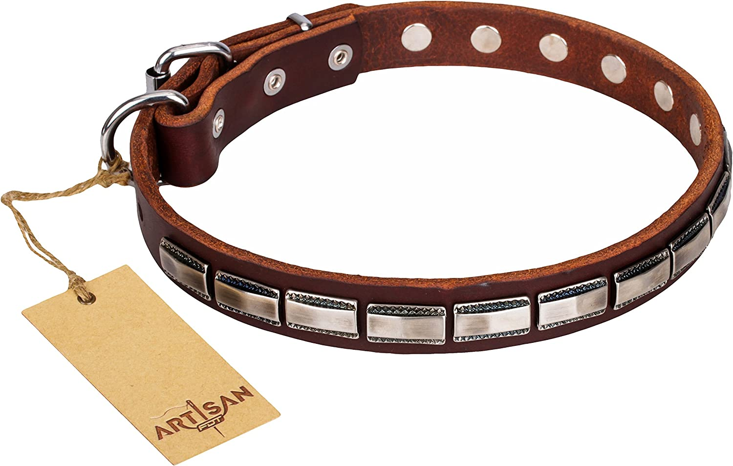 FDT Artisan 28 inch Brown Leather Dog Collar with Fake Silver Plates  Refined Classic  1 inch (25 mm) widev