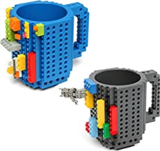 2 Pack Build-on Brick Mug, Funny Build on Building Coffee Cup with Novelty 12 oz Tea Beverage Cup