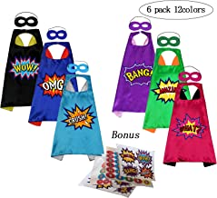 Superhero Capes and Masks with Stickers for Kids Custume and Dress Up 6 Packs Reversible 12 Colors