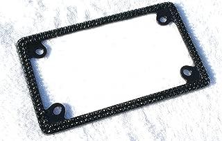Hotblings Bling Black (on Black) Crystal Motorcycle License Plate Frame Made w/Swarovski Elements & Caps Set