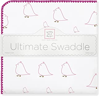 SwaddleDesigns Ultimate Swaddle, X-Large Receiving Blanket, Made in USA Premium Cotton Flannel, Bright Pink Mama and Baby Chickies (Mom's Choice Award Winner)