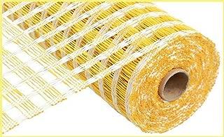 Poly Burlap Check Deco Mesh, 10 Inches x 10 Yards (Cream, Yellow)