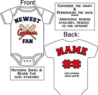 Personalized Custom Made Newest Cardinals Fan Gerber Onesie Baseball Jersey - Baby Announcement Reveal or Shower Gift