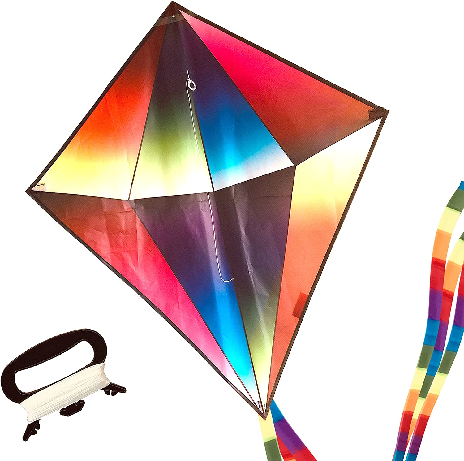 Jellyfish Planet Large Rainbow Diamond Kite, Easy to Fly, Best D