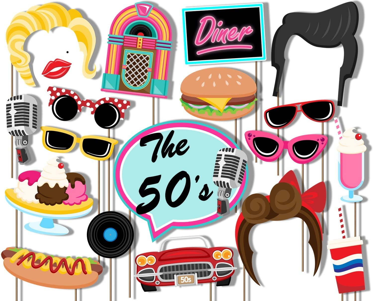 Amazon Com Birthday Galore 50 S Diner Photo Booth Props Kit 20 Pack Party Camera Props Fully Assembled Home Kitchen