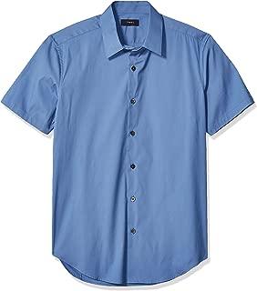 Theory Men's Sylvain Short Sleeve Wealth Cotton Sportshirt, Blue dust, M