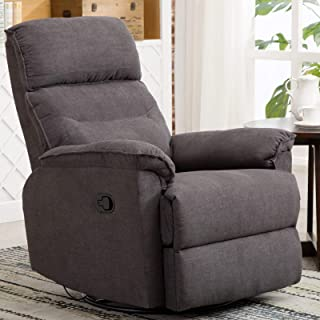 CANMOV Swivel Rocker Recliner Chair – Manual Reclining Chair, Single Seat Reclining Chair, Gray
