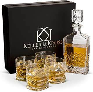 Whiskey Decanter and Glass Set, Genuine Lead Free Crystal Glass Decanters for Alcohol. Perfect Whiskey Sets for Men, Liquor Decanter Set for Scotch & Bourbon. Excellent House Warming Present & Bar Set