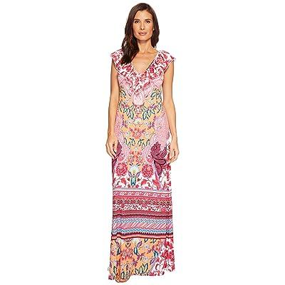 Hale Bob Simply Irresistible Matte Microfiber Jersey Maxi Dress (Coral) Women