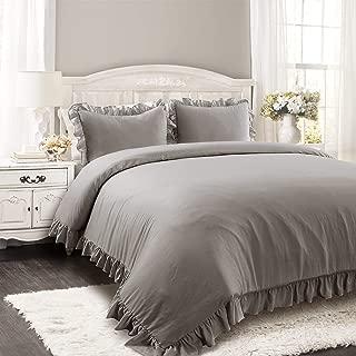 Lush Decor Reyna Comforter Ruffled 3 Piece Bedding Set with Pillow Shams, King, Gray