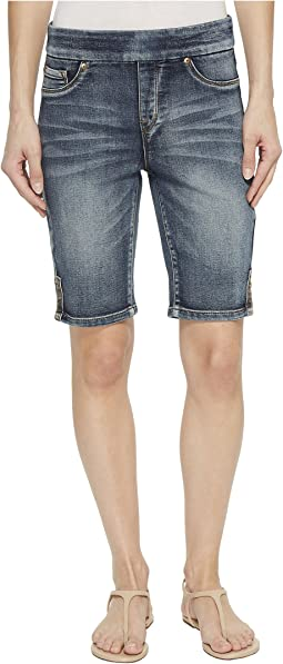 "10"" Knit Denim Pull-On Shorts with Leg Detail in Medium Wash"