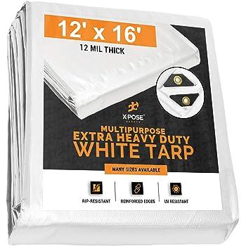 12 feet x 12 feet Heavy Duty White Poly Tarp
