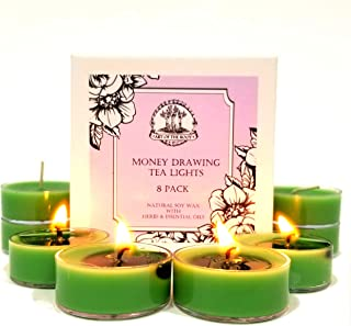Art of the Root Money Drawing Soy Tea Lights Candles (8 Count) for Wealth, Financial Security, Prosperity, (Wiccan, Pagan, Hoodoo, Magick)