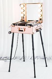 Kemier Makeup Case,Professional Artist Studio Cosmetic Train Table w/4 Rolling Wheels & Lights & Mirror,Pro Makeup Station...