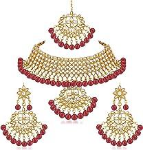 Apara Ruby Kundan Studded Link Necklace Jewellery Set for Women