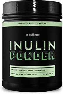 SB Organics Inulin Powder - 1 lb Canister of Organic Non-GMO Gluten-Free Vegan Prebiotic Supplement Made from Chicory Root...