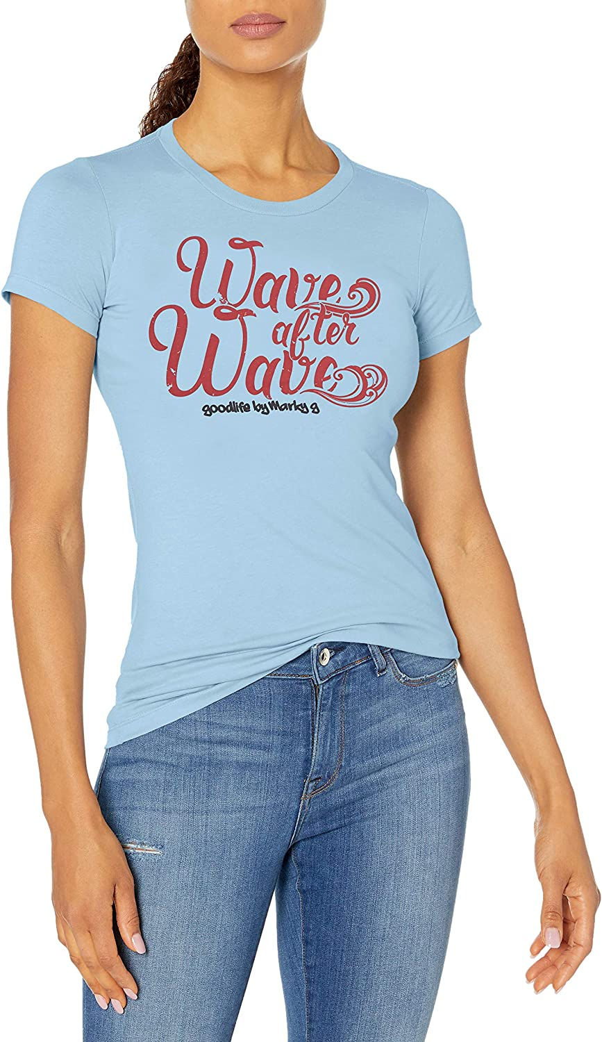 Marky G Apparel Womens Casual Short Sleeve Crewneck Tops Slim Fit T-Shirt Wave Printed