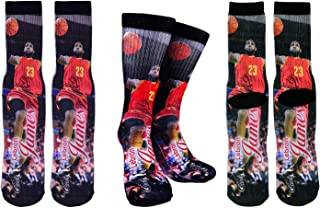 Lebron James #23 Basketball Crew Socks ✓ Lebron James Autographed ✓ One Size Fits 6-13 ✓ Ultimate Basketball Fan Gift