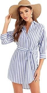 Women's Cotton Asymmetrical Hem 3/4 Sleeve Belted Striped Dress Shirt