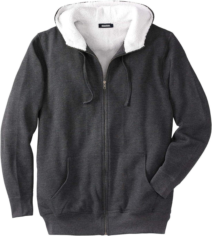 KingSize Industry No. 1 Max 55% OFF Men's Big Tall Sherpa-Lined Hoodie Fleece Zip
