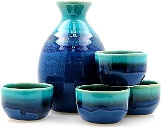 Juego de 4 tazas de sake azul Lagoon – japonés
