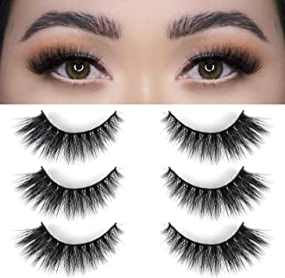 BEPHOLAN 3 Pairs Mink Lashes 100% Real Siberian Mink Fur Lashes,Dramatic Round Look,Long& Thick, Totally Cruelty-Free,Reusable &Handmade, Non-Irritating Fake Eyelashes, XMZ208