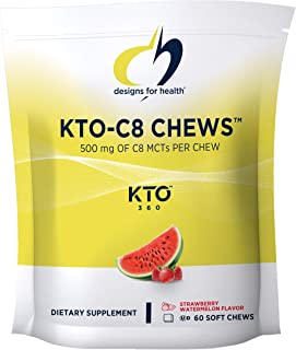 Designs for Health KTO-C8 MCT Oil Chews - 500 mg Caprylic Acid MCT - Pure C8 - Keto Diet - Promotes Healthy Metabolism, Fo...