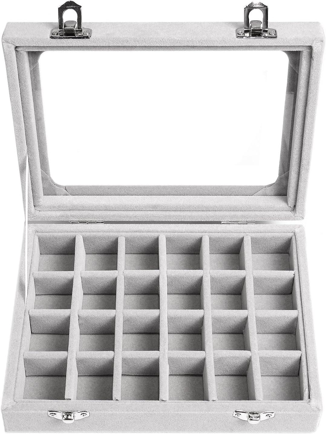 Velvet Compartment Ring Jewelry Tray Drawer Organizer Storage Case Box24 Slot