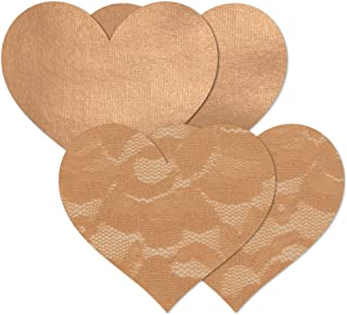 Nippies Women's Tan Caramel Heart Waterproof Self Adhesive Fabric Nipple Cover Pasties