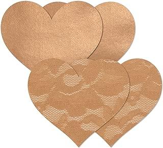Women's Tan Caramel Heart Waterproof Self Adhesive Fabric Nipple Cover Pasties