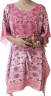 Pure Silk Crepe paisley design kaftan with hand floral embroidery and tie up waist 90 cm beach kaftan