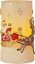 Greluna Christmas Santa Claus Flameless LED Candle with Timer, Battery Operated Candles for Christmas Decorations and Gift,3X6 inches (Santa Claus with Reindeer)