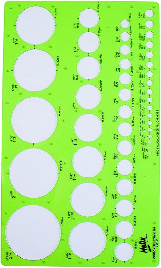 Circles Template Flexible Plastic 36 Circle Combo Circle Template