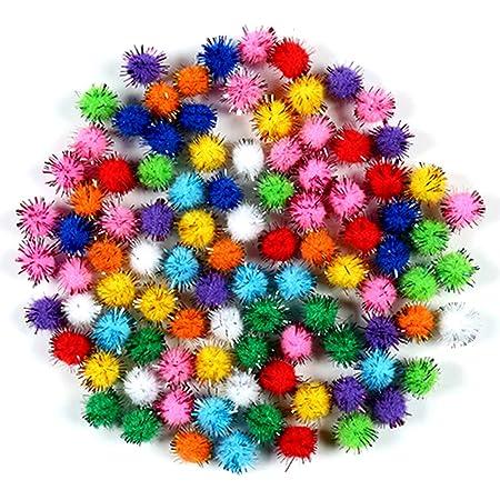 nuluxi Pompons à Paillettes pour Loisirs Créatifs Pom Pom DIY Décoratifs Multicolores Rondes Pompons Mini Pompons Balles pour Fournitures de Loisirs et DIY Décorations Artistiques Créatives (2cm)