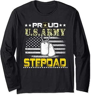 Vintage Proud Stepdad U.S.Army Veteran Flag Gift Long Sleeve T-Shirt