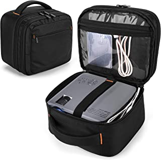 CURMIO Double Layers Projector Case, Mini Projector Carrying Bag with Detachable Divider Compatible with DR.J Professional...