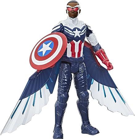 复仇者漫威工作室泰坦英雄系列美国队长动作公仔,12 英寸玩具,包括翅膀,适合 4 岁及以上儿童
