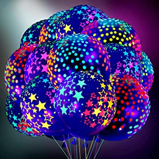 50 Pieces Blacklight Party Balloons Set, 25 Pieces 12 Inch Mini Polka Dots Balloons Neon Latex Balloons and 25 Pieces Blac...